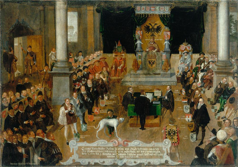 Das Gemälde Verlesung der Augsburger Konfession von 1530 entstand in der ersten Hälfte des 17. Jahrhunderts und kündet heute in den Luther-Zimmern von dem historischen Ereignis.