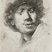 Rembrandt Harmensz. van Rijn (1606–1669), Selbstbildnis mit aufgerissenen Augen, 1630. Kunstsammlungen der Veste Coburg, Kupferstichkabinett, Inv.-Nr. VII,382,300