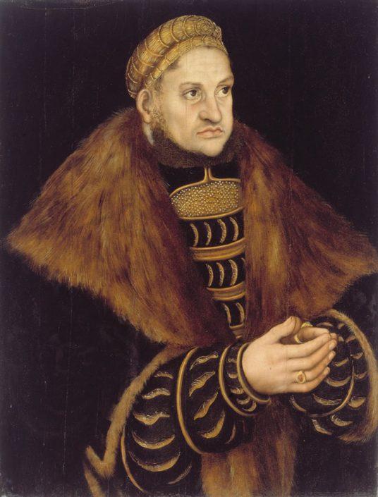 """Lucas Cranach d. Ä. (1472 –1553), Friedrich III. Kurfürst von Sachsen, genannt """"der Weise"""" (1463–1525, Kurfürst 1486–1525), um 1515, Temperamalerei auf Nadelholz"""
