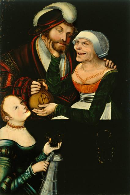 Lucas Cranach d. J. (1515–1586), (?), Ungleiches Paar (Die verliebte Alte), Öl auf Holz, um 1540