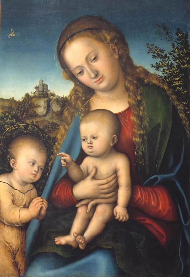 Lucas Cranach d. Ä. (1472–1553), Maria mit Kind und Johannesknaben, um 1515–1520, Tempera (und Öl?) auf Holz
