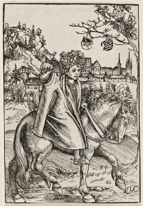Lucas Cranach d.Ä., Sächsischer Prinz zu Pferd, Holzschnitt, 1506