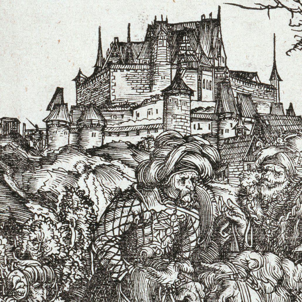 """Detail aus dem Holzschnitt Lucas Cranachs d.Ä. """"Die Marter des hl. Erasmus"""" mit der Veste Coburg im Hintergrund, 1506"""