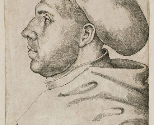 Lucas Cranach d.Ä., Martin Luther mit Doktorhut, Kupferstich, 1521
