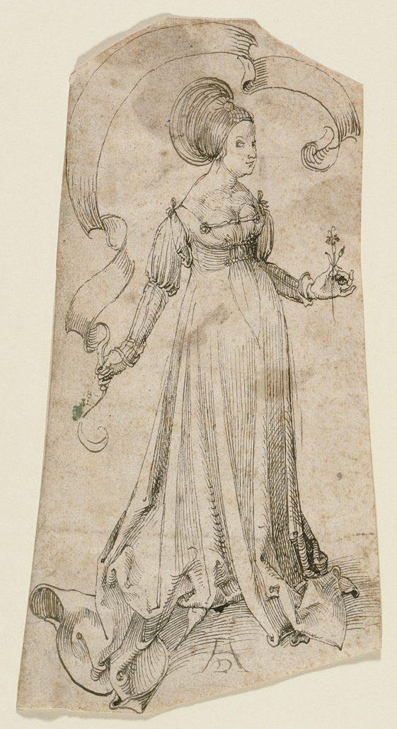 Albrecht Dürer, Dame mit Nelke, Federzeichnung, ca. 1495
