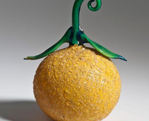 Orange, Eisglas mit gelber Pulvereinschmelzung, Venedig, Anfang 18. Jh.