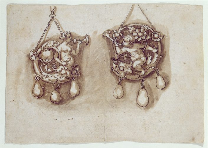 Hans Holbein d.J., Zwei Entwürfe für Schmuckanhänger, Feder, laviert, 16. Jh.