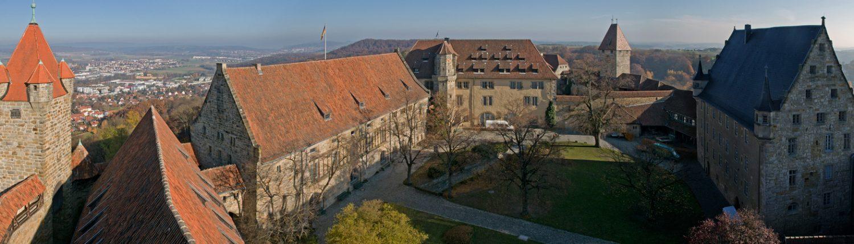 Blick vom Blauen Turm in den 2. Burghof, Veste Coburg