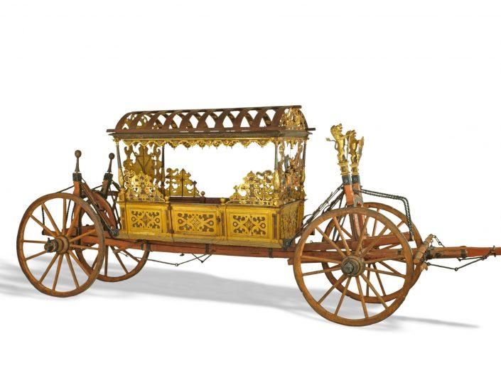 Prunkwagen zur Vermählung von Herzog Johann Casimir mit Margarete von Braunschweig. Er ist der älteste, fahrbereite Wagen seiner Art.