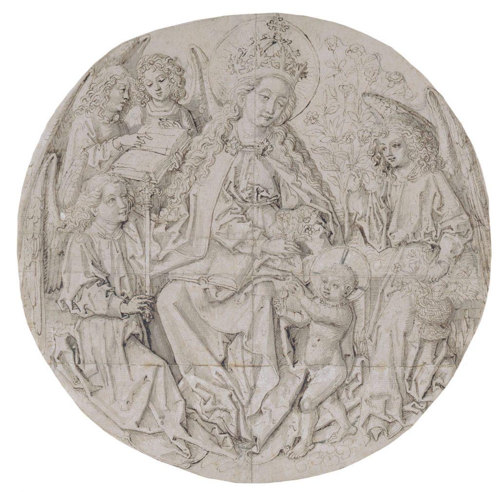 Meister der Coburger Rundblätter, Maria im Rosenhag, Feder, laviert, letztes Viertel 15. Jh