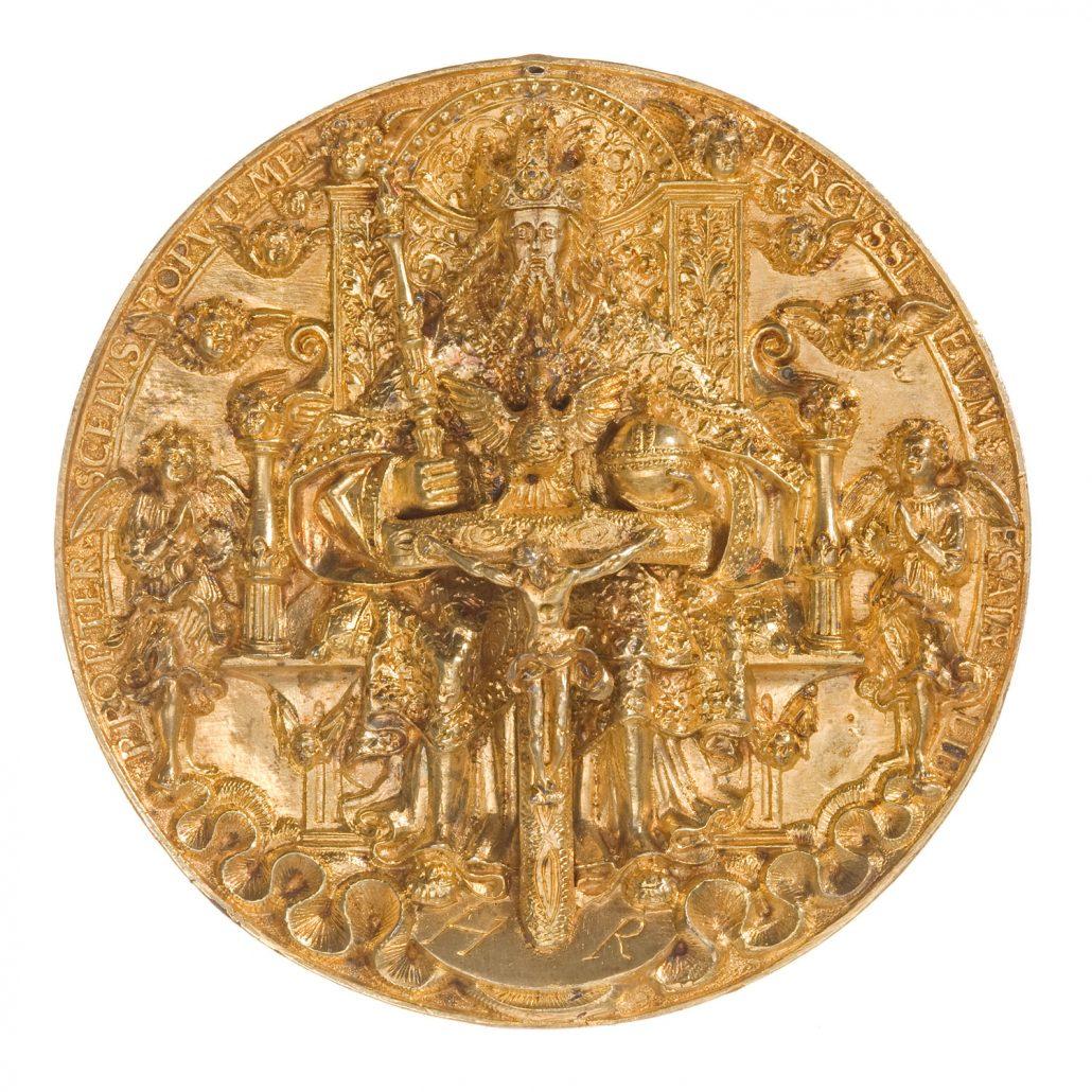 """Hans Reinhart d. Ä., Dreifaltigkeitsmedaille (""""Moritzpfennig""""), 1544, Silber, vergoldet"""