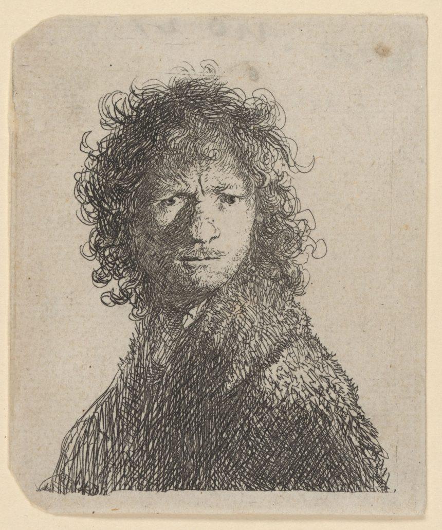 Selbstbildnis Rembrandts mit gerunzelter Stirn, 1630, Radierung, Inv.-Nr. VII,374,8b