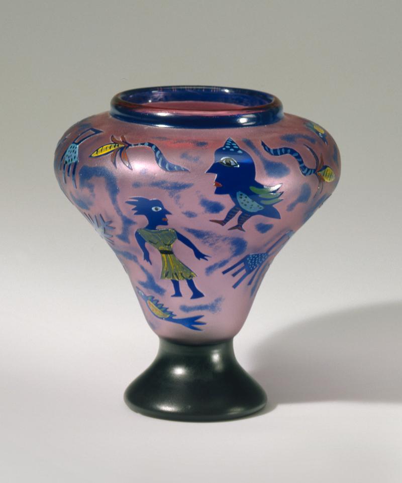 Ulrica Hydman-Vallien (*1938), Entwerfer Kosta Boda, Glasbruk, Schweden, Ausführender Vase - Geschichte eines Spiels im Freiheitsrausch / Vase, Schweden, 1984 Glas, geblasen