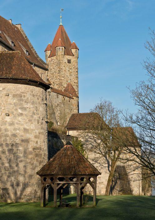 Zwingermauer mit Pulvertürmen aus der Zeit der Hussitenkriege 1419–1436, Brunnen im Wallgraben