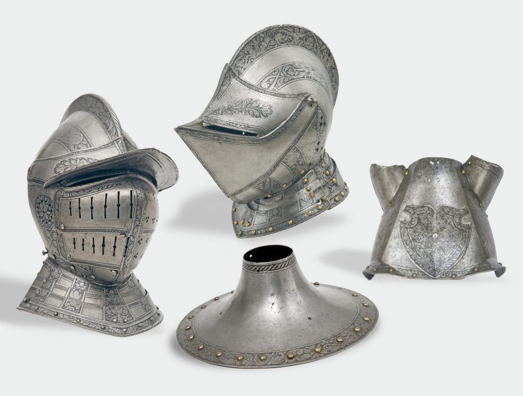 Teile eines Doppelküriss, Innsbruck, 1537, 1537 von König Ferdinand I. (1503–1564) (Kaiser 1558) bei seinem Hofplattner Jörg Seusenhofer, Innsbruck bestellt und 1538 von diesem geliefert