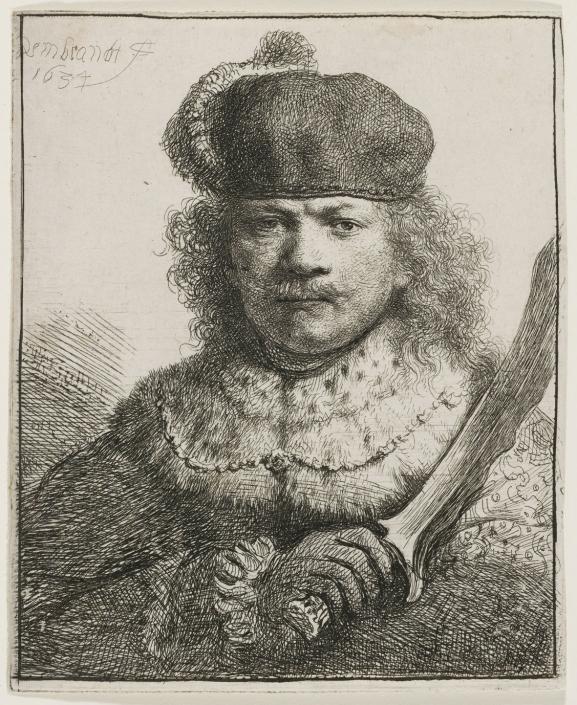 Selbstbildnis mit dem Säbel, 1634, Radierung, mit Spuren von Grabstichel, Inv.-Nr. VII,375,17