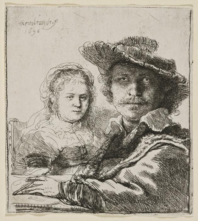 Selbstbildnis mit Saskia, 1636 Radierung, Inv.-Nr. VII,375,18
