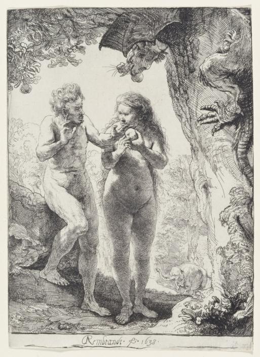 Adam und Eva, 1638, Radierung, Inv.-Nr. VII,375,28