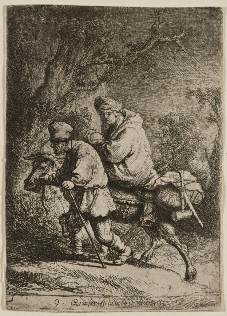 Die Flucht nach Ägypten (kleines Format), 1633, Radierung, Zustand: I/IV, Inv.-Nr. VII,376,57