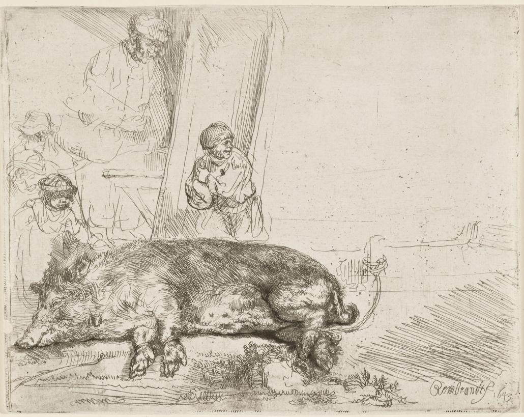 Das Schwein, 1643, Radierung, Kaltnadel, Inv.-Nr. VII,379,170