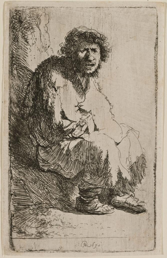 Auf einem Erdhügel sitzender Bettler, 1630, Radierung, Inv.-Nr. VII,379,185