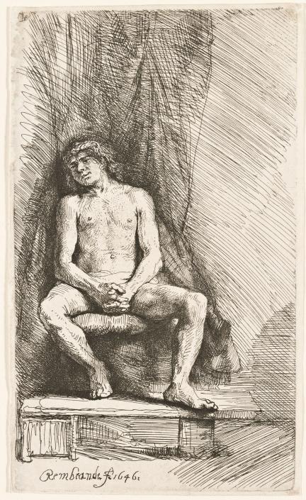 Männlicher Akt, vor einem Vorhang sitzend, 1646, Radierung, Inv.-Nr. VII,380,196