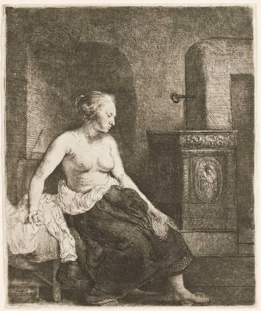 Halbbekleidete Frau, am Ofen sitzend, 1658, Radierung, Grabstichel, Kaltnadel, Inv.-Nr. VII,380,200