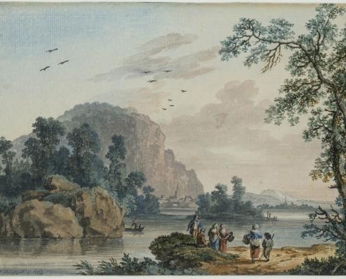 Jakob Philipp Hackert (1737 – 1807): Landschaft mit Figuren an einem Fluss, Gouache und Aquarell, 1766; Inv.-Nr. Z. 6484