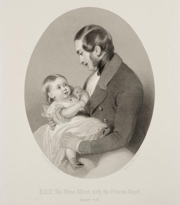 Francis Holl (1815–1884) nach Edwin Landseer (1802–1873) Prinz Albert mit der kleinen Prinzessin Victoria im August 1842