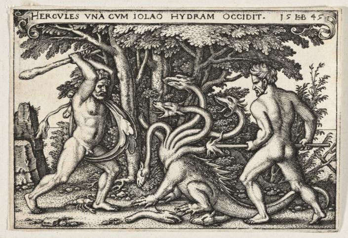 Hans Sebald Beham (um 1500 - 1550), HERCULES UNA CUM IOLAO HYDRAM OCCIDIT, 1545, Kupferstich