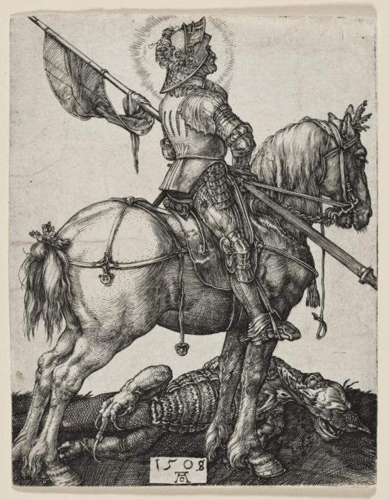 Albrecht Dürer (1471 - 1528), Hl. Georg zu Pferd, 1508, Kupferstich