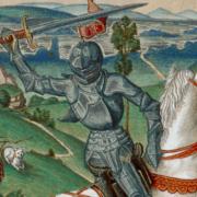 Meister FVB (tätig vermutlich in Brügge 1475 - 1500), Stecher Der hl. Georg im Kampf mit dem Drachen, 1475 - 1500 Kupferstich, koloriert