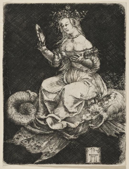 Albrecht Altdorfer (um 1480 – 1538), Allegorische Gestalt auf einem Drachen, 1506, Kupferstich