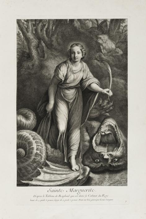 Louis Surugue (1686 - 1762), Sainte Marguerite, um 1729, Kupferstich