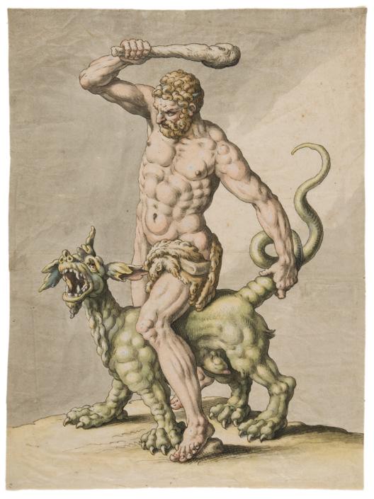 Hans Friedrich Schorer (1585–1654), Herkules bändigt den Drachen Ladon, 1636, Feder schwarz, aquarelliert mit Deckweiß