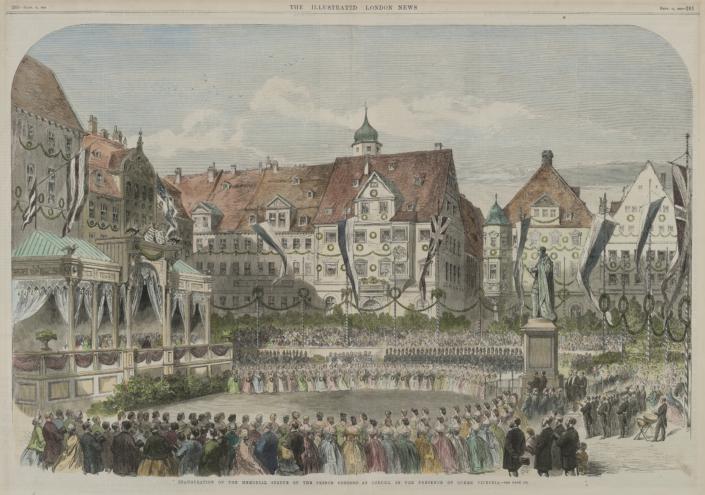 Einweihung des Prinz-Albert-Denkmals in Coburg in Anwesenheit von Queen Victoria