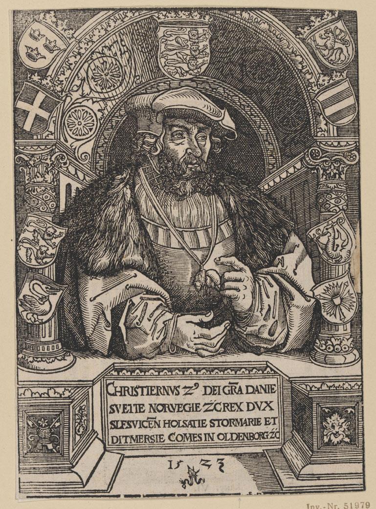 Lucas Cranach d.Ä., Christian II., Holzschnitt, 1523, Staatliche Graphische Sammlung München