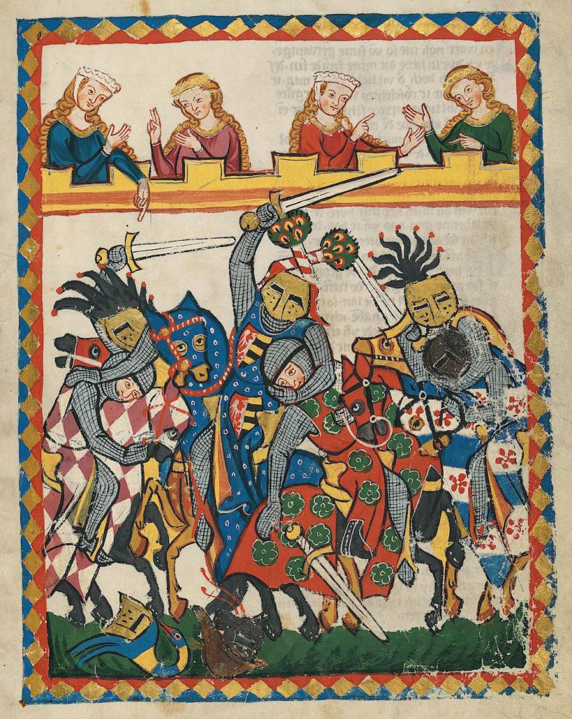 Kämpfende Ritter im Codex Manesse, 14. Jh. Quelle: https://digi.ub.uni-heidelberg.de/diglit/cpg848/0029