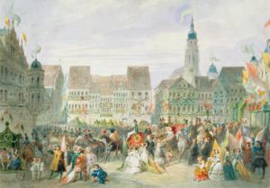 Heinrich Justus Schneider, Einzug der Erbprinzessin Alexandrine auf dem Marktplatz in Coburg, 1842. Kunstsammlungen der Veste Coburg, Inv.-Nr. Z.4203.