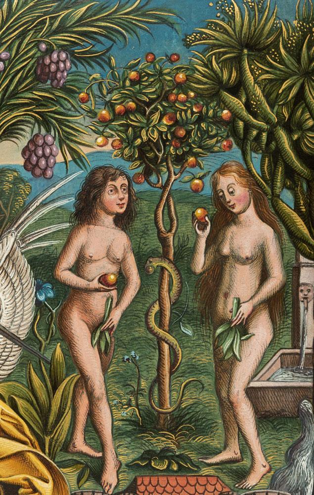 """Michael Wolgemut (1434 - 1519) Wilhelm Pleydenwurff (um 1460 - 1494) Sündenfall und die Vertreibung aus dem Paradies, aus Hartmann Schedels """"Weltchronik"""", 1449 - 1519 Inv.-Nr. I,37,10"""