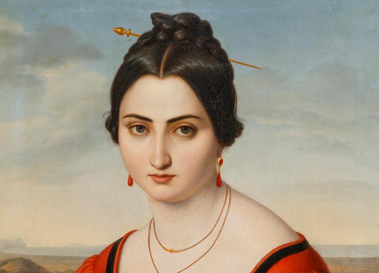 Friedrich Müller, Porträt der Fortunata Segadori (Ausschnitt), 1832, Öl auf Leinwand. Klassik Stiftung Weimar, Inv.-Nr. G 75. © Klassik Stiftung Weimar (Foto: Alexander Burzik)