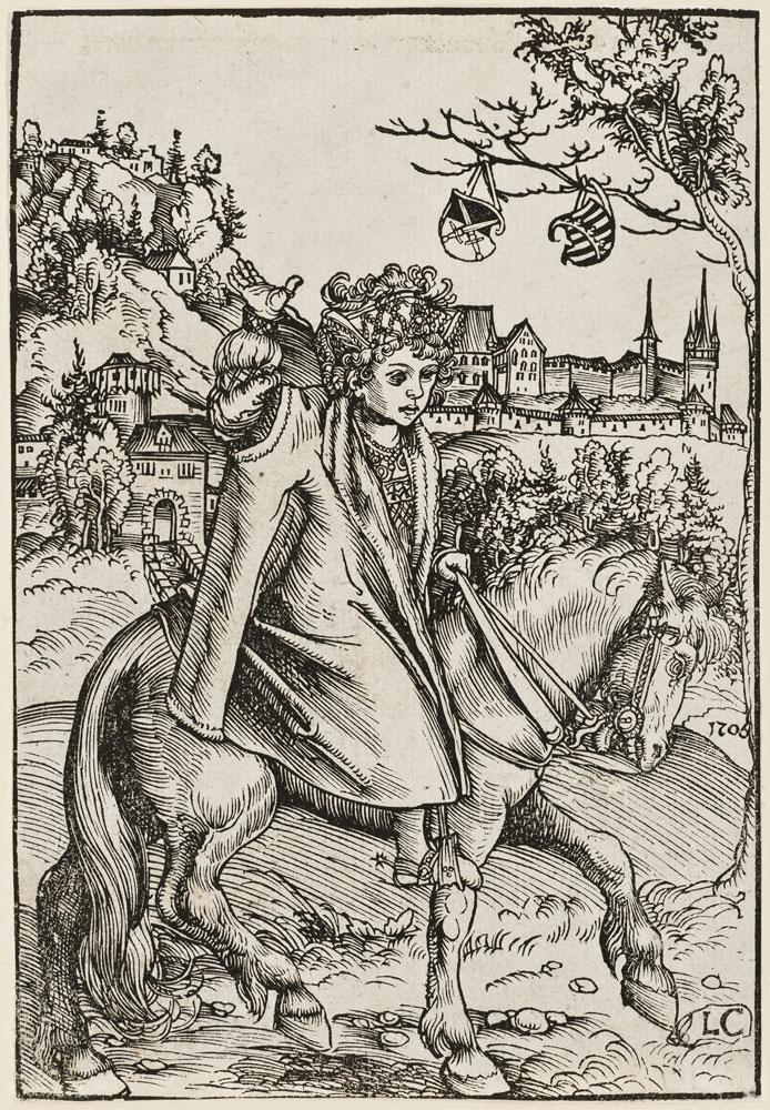 Lucas Cranach d. Ä., Sächsischer Prinz zu Pferd (Johann Friedrich I., der Großmütige), 1506, Kunstsammlungen der Veste Coburg