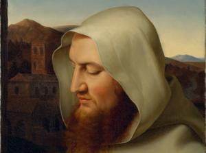 Wilhelm Schadow: Kamaldulenser-Mönch in der weißen Tracht seines Ordens, Brustbild nach links, 1818, Öl auf Leinwand, 47,5 x 36,5 cm. Privatbesitz.