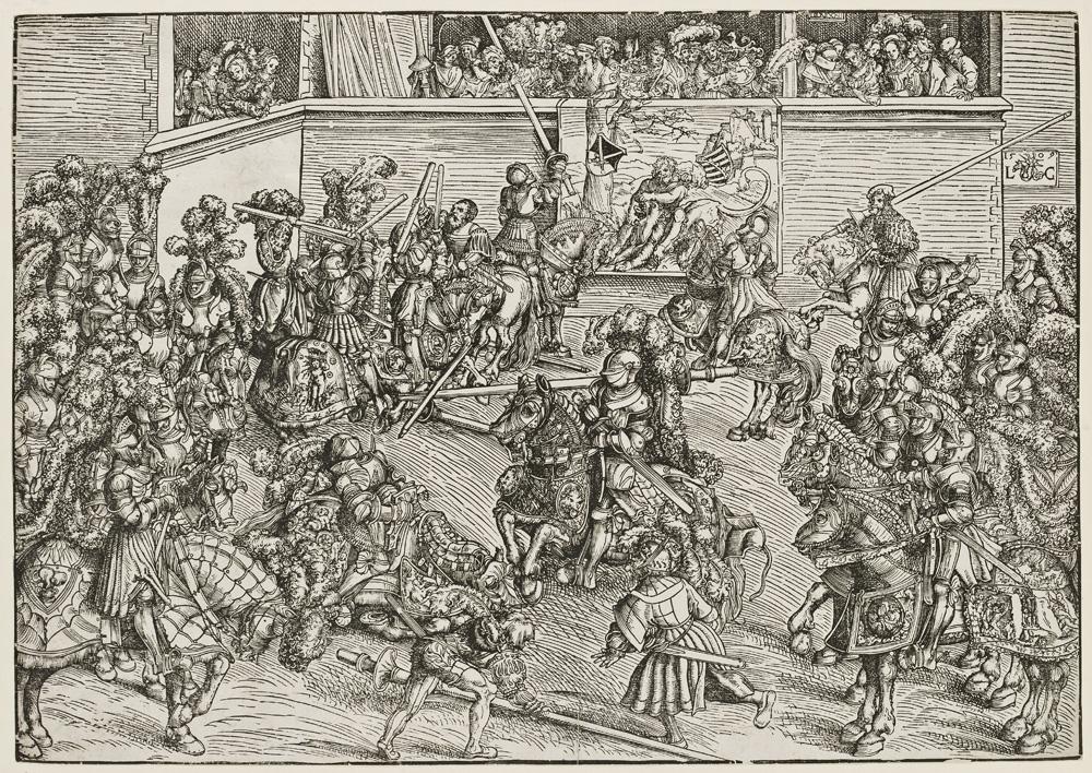 Lucas Cranach d. Ä. , Das Turnier mit Simsonteppich (Das zweite Turnier am Wittenberger Hof), 1509